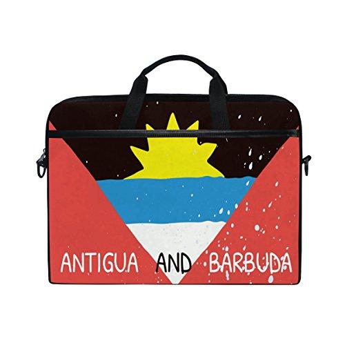 Distressed Antigua And Barbuda Flag 14 Inch Laptop Shoulder Messenger Bag Case Sleeve Briefcase with Handle for Women Men