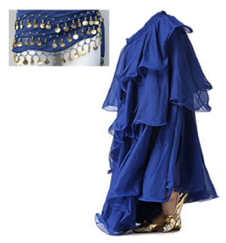 Blue lunga Royal lunga A in danza Maxi Chiffon Gypsy Spiral del Three con ventre con Gonna Strati cintura express a0f11q