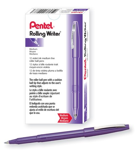 Pentel Rolling Writer Pen, 0.8 Millimeter Cushion Ball Tip, Violet Ink, Box of 12  (R100-V) Photo #1