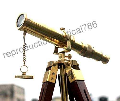 Antique Solid Brass Spy Glass Telescope Handmade Marine Navy Ship Telescope with Wood Tripod Desk Balcony Decorative Vintage Scope Pirate by Antique House