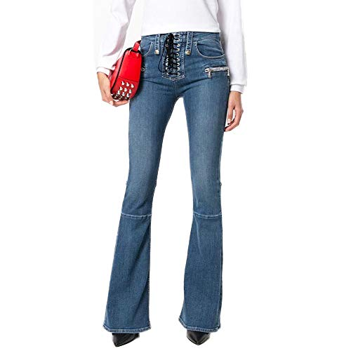 LJYASD Pantalones Acampanados Mezclilla Pantalones Lazo Umbral Elasticidad Apretado Puntadas Cintura Alta Cremallera Street Hipster Blue