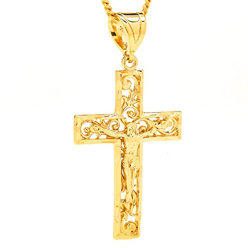 Gold Filigree Crucifix and Necklace, 24K Overlay Beautiful Jesus Cross with 20