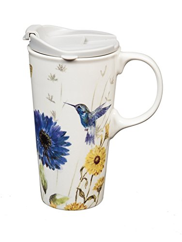 Gift Ceramic Box (Cypress Home Ceramic Travel Coffee Mug with Matching Gift Box, Floral Garden, 17 Ounces)