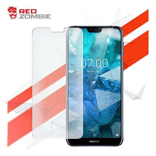 (Red Zombie Nokia 7.1 Android Smartphone - [(Premium Tempered Glass Screen Protector) - (Full Coverage) - (Full Adhesive) - (Apocalyptic Device Protection)])
