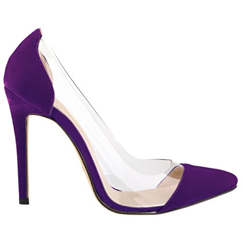 LOSLANDIFEN Womens Closed Toe High Heels Pointed Slender Stiletto Pumps(302-27VE39,Purple)