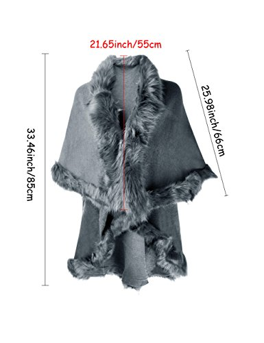 ZLYC Women Fine Knit Open Front Faux Fur Trim Layers Poncho Cape Cardigan Sweater (Gray) by ZLYC (Image #6)