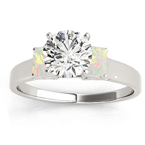 (0.30ct) Palladium Three-Stone Emerald Cut Opal Engagement Ring Setting