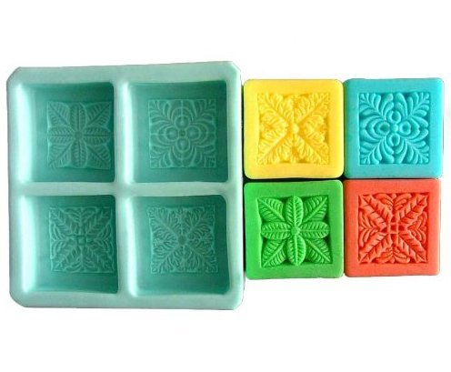 Allforhome 4 Cavity Plants Craft Art Silicone Soap mold Craft Molds Bath Bomb DIY Handmade soap moulds