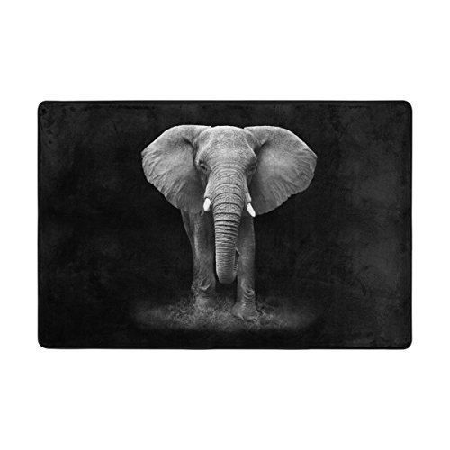 Comfortable Style Elephant on Black Background Area Rugs Pad Non-Slip Kitchen Floor Mat for Living Room Bedroom 2' x 3' Doormats Home Decor