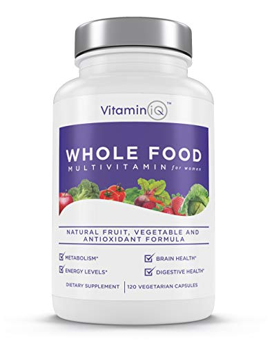 VitaminIQ Whole Food Multivitamin for Women | Natural Vitamins & Minerals | Supports Energy, Brain, Heart, Metabolism and Digestive Health | 120 Vegetarian Capsules