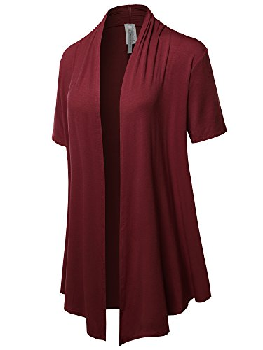 Solid Jersey Knit Draped Open Front Short Sleeves Cardigan Burgundy 1XL