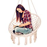 LANSEYQO Hammock Swing Chair Macrame, Cotton Rope Suspended Swinging Fabric Seat/Bohemia Woven Hanging Chair Home Decoration, Max 265lbs (1 * Hammock)