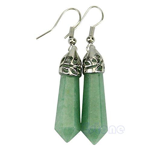 - hibyebuying Crystal Dangle Earrings, Stylish Gemstone Beads Ladies Hexagonal Pendulum Dangle Earring Eardrop (#1 Green Aventurine)
