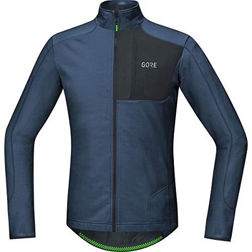 (GORE WEAR Men's Breathable Long Sleeve Jersey, C5 Thermo Trail Jersey, L, Deep Water Blue/Black, 100373)