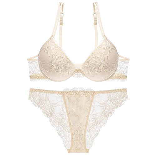 HUABAN Women Underwire Deep V Dress Push Up Sexy Lace Bra with Transparent Panty White