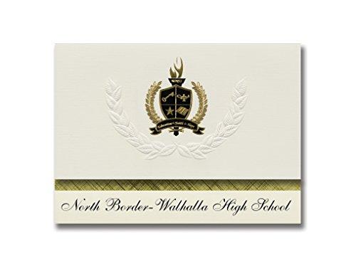 Metallic Gold Border Invitation (Signature Announcements North Border-Walhalla High School (Walhalla, ND) Graduation Announcements, 25 Pack with Gold & Black Metallic Foil seal, 6.25