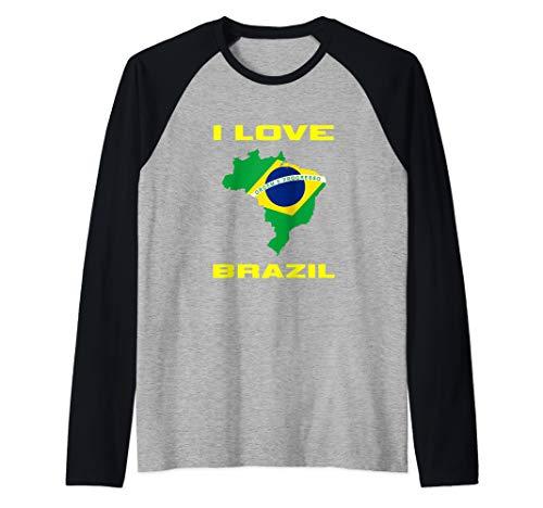 I Love Brazil Brazilian Flag Inside Country Brasilero Gift Raglan Baseball Tee