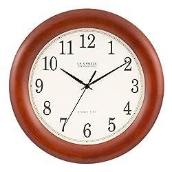 La Crosse Technology WT-3122A 12.5 Inch Wood Atomic Analog Clock, 12.5, Cherry Walnut