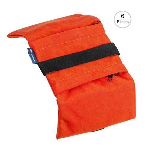 Flashpoint Empty Saddle Sandbag, Water-Resistant Cordura Nylon - (5 lb Capacity, Orange) (6 Pack)