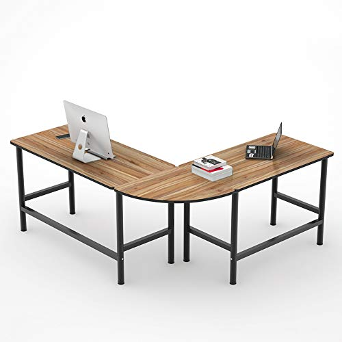 Desk Modern L-shaped (Tribesigns 67'' Large Reversible L-Shaped Desk, Modern Corner Computer Desk PC Laptop Study Table Workstation for Home Office, Oak Brown)