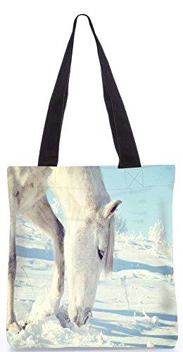 """Snoogg Weißen Schnee Pferd Tragetasche 13,5 X 15 In """"Shopping-Dienstprogramm Tragetasche Aus Polyester Canvas"""