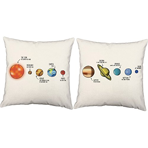 Set of 2 RoomCraft Outer Space Solar System Throw Pillow Covers 18x18 Square White Indoor-Outdoor Astronomy Shams by RoomCraft