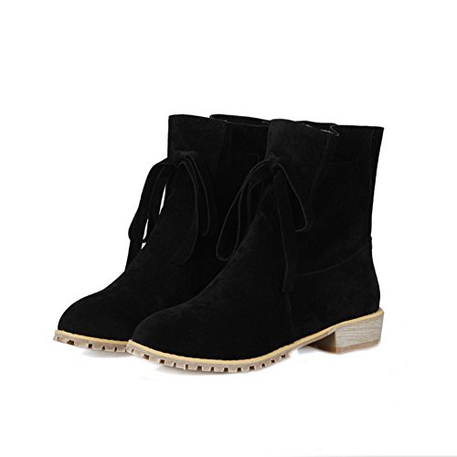 AgooLar Women's Solid Imitated Suede Low-Heels Lace-up Round Closed Toe Boots Black 7eemtBj4I