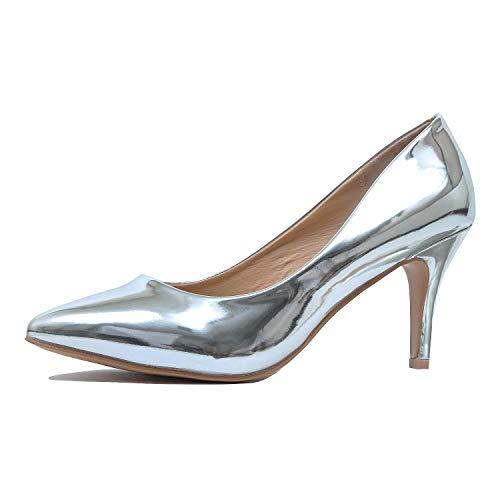 Guilty Shoes - sanzi-2 Silver Metallic, 8.5