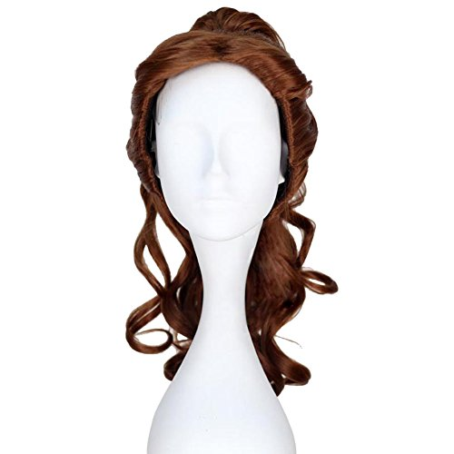 [Xcoser Princess Belle Long Curly Brown Synthetic Anime Costume Wig Adult] (Belle Wigs)
