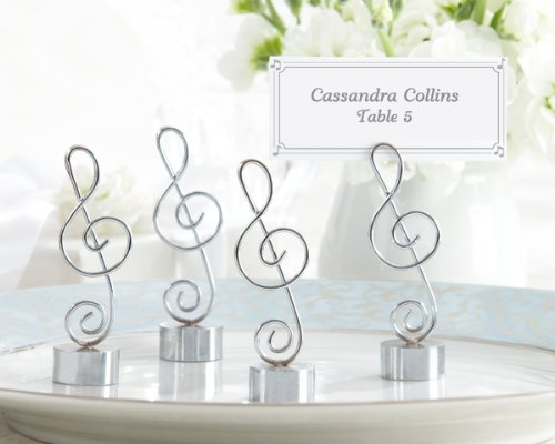 96 ''Love Songs'' Silver-Finish Music Note Place Card/Photo Holders by Kateaspen (Image #1)