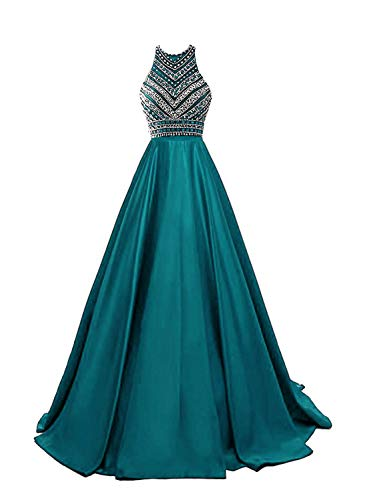 HEIMO Women's Sequins Evening Party Gowns Beading Formal Prom Dresses Long H187 18W Teal