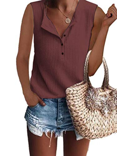 Famulily Women's Waffle Knit Sleeveless Shirt Loose Button Up Thermal Tops and Bloue Ruse Red Meduim