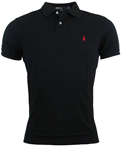 Polo Ralph Lauren Mens Custom Fit Mesh Polo Shirt (Black-Medium)