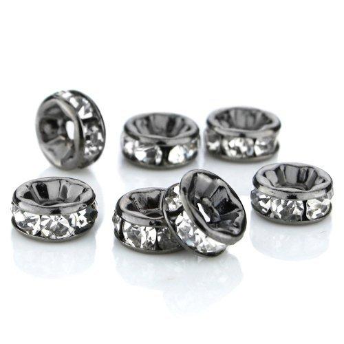 Swarovski Crystal Spacers (100 Pcs Swarovski Crystal Rondelle Spacer Bead Black Plated 8mm Crystal White (001))