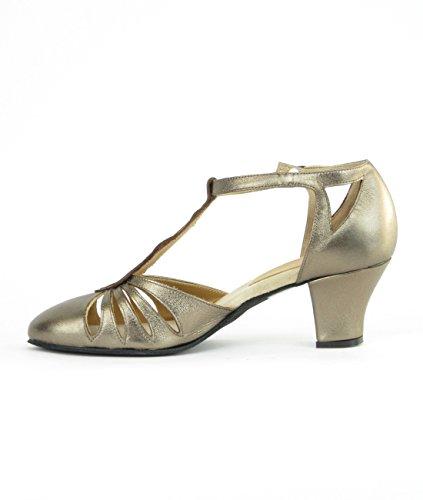 Rumpf 9210 Zapatos Baile Mujer Balboa Latino Salsa Rumba Tango Salón Cuero suela de cromo tacón 5 cm ¡Hechos en Italia! Bronce
