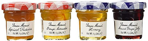 Bonne Maman Mixed (Honey, Apricot, Orange & Grape) Preserve Mini Jars - 1 oz x 60 pcs 4 - 15 Packs) - Favors Wedding Honey Jar