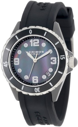 Akribos XXIV Women's AK502BK Ceramic  Case with Silver Accents and Black Rubber Strap Watch