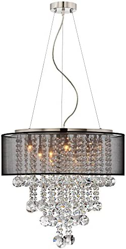 Bretton Brushed Nickel Chandelier 22″ Wide Modern Clear Glass Crystal Black Sheer Shade 12-Light Fixture