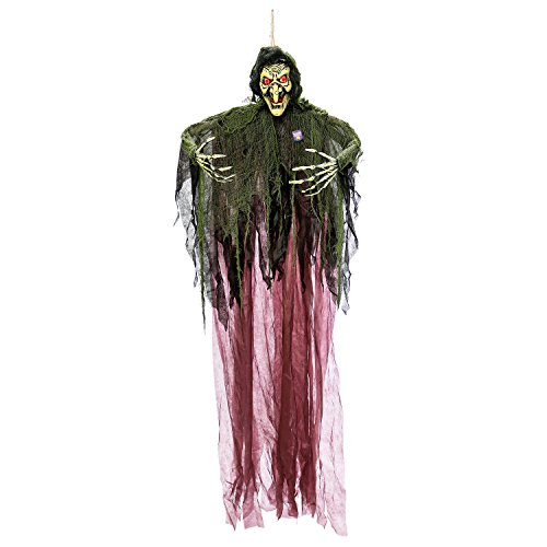 Halloween Haunters Hanging 7 Foot Scary Wicked Witch, Speaks Cackle Laughs, Red LED Eyes Prop Decoration - Spooky Cackling, Sound and Touch Activated - Haunted House Graveyard Entryway -