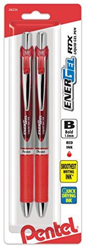 (Pentel EnerGel RTX Retractable Liquid Gel Pen, Bold Line, Metal Tip, Red Ink 2-Pack (BL80BP2B))