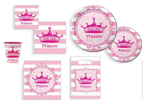 Princess Diva Party Supplies Bundle Plastic Tablecloth Plates Napkins Cups and Loot Bag
