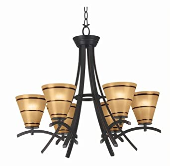 kenroy home 90086orb wright 6light chandelier blackened oil rubbed bronze