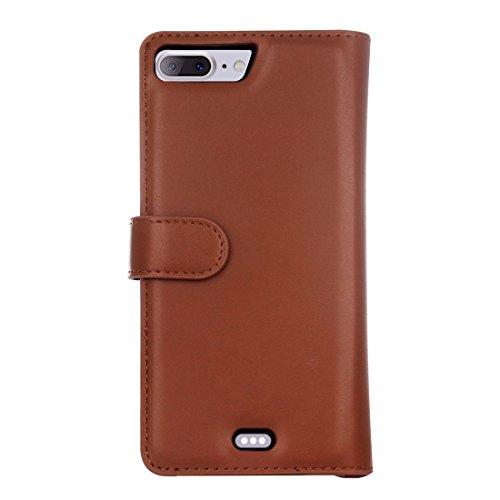 MXNET IPhone 7 Plus Case, Plain Weave Texture Zipper Horizontale Flip Leder Tasche mit abnehmbarem Rücken Schutzhülle & Card Slots & Wallet CASE FÜR IPHONE 7 PLUS ( Color : Brown )