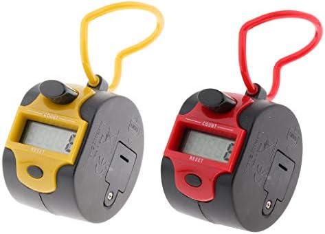 perfk 2 stks Hand Tally Counter Digitale Pitch Counter Clicker Handheld Mechanische Nummer Klik Counter Orange Rood
