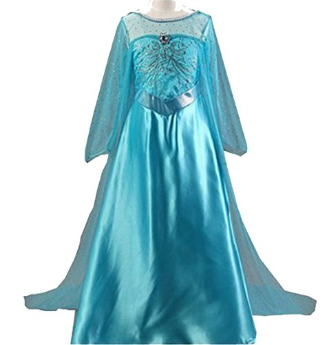 CXFashion Summer Anna Elsa Girls Princess Dress Party Cosplay Costume Baby Toddler Lace Clothes (Fancy Dress Up Clothes)