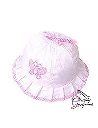 Cute Baby Girls Toddlers Stripes & Butterflies Summer Sun Hat Bonnet Embroidered