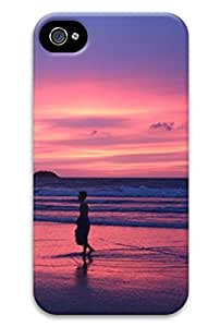 Cute Beach under the sunset Design Protective Back Case Cover for iPhone 4 4s