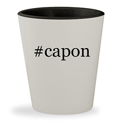 Capone Al Sweets (#capon - Hashtag White Outer & Black Inner Ceramic 1.5oz Shot Glass)