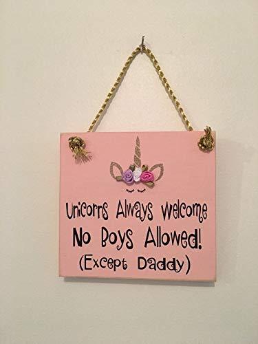 Rustic Unicorns Welcome Wooden Door Sign Hanger Little Girls Room Nursery