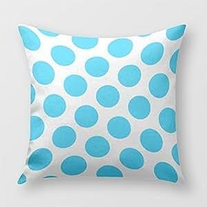 Aqua Blue Polka Dot American Mojo Pillow Cover for Sofa or Bedroom
